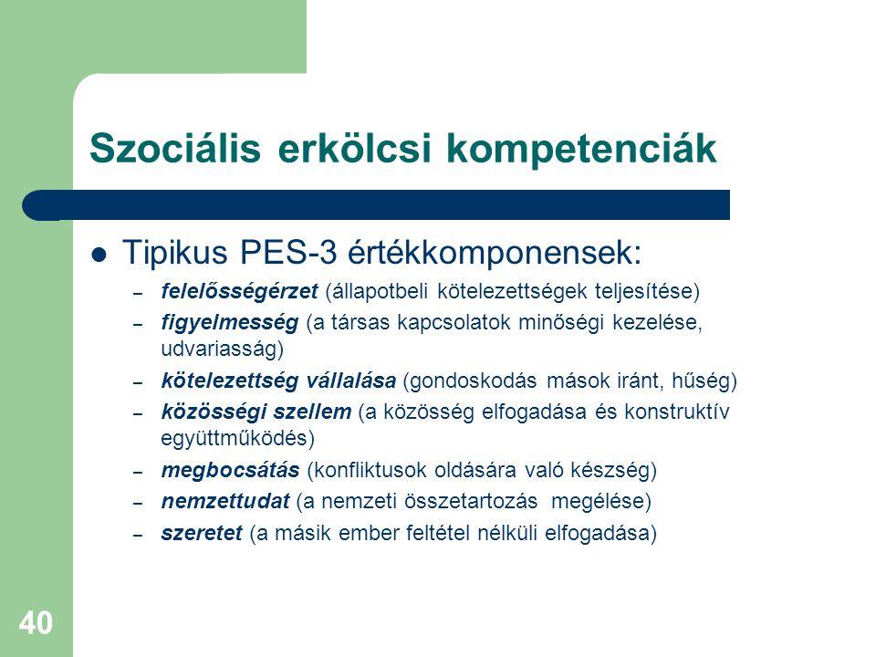 Szociális erkölcsi kompetenciák  Tipikus PES-3 értékkomponensek: – felelősségérzet (állapotbeli kötelezettségek teljesítése) – figyelmesség (a társas