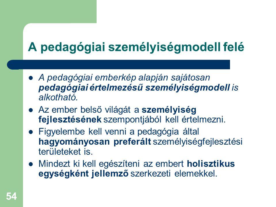 54 A pedagógiai személyiségmodell felé  A pedagógiai emberkép alapján sajátosan pedagógiai értelmezésű személyiségmodell is alkotható.  Az ember bel