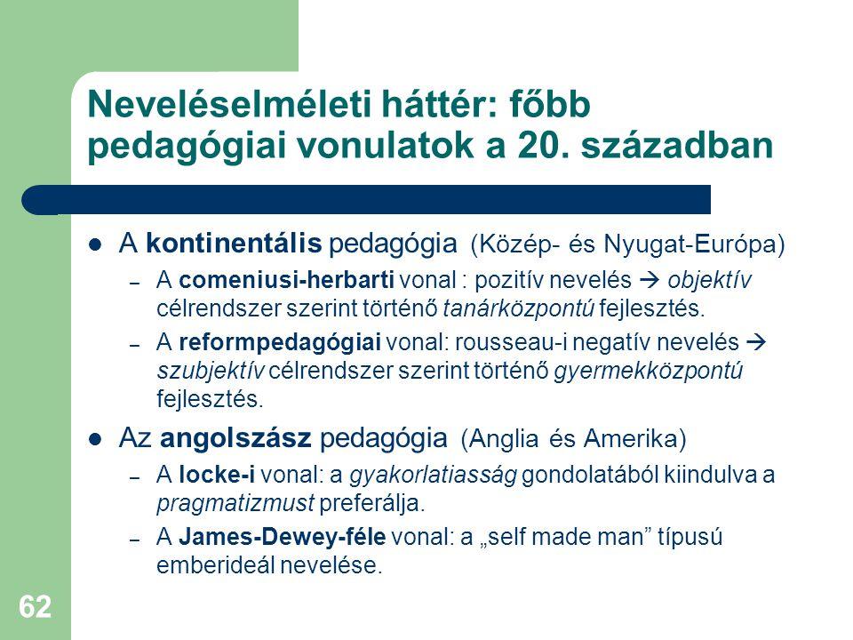 62 Neveléselméleti háttér: főbb pedagógiai vonulatok a 20. században  A kontinentális pedagógia (Közép- és Nyugat-Európa) – A comeniusi-herbarti vona