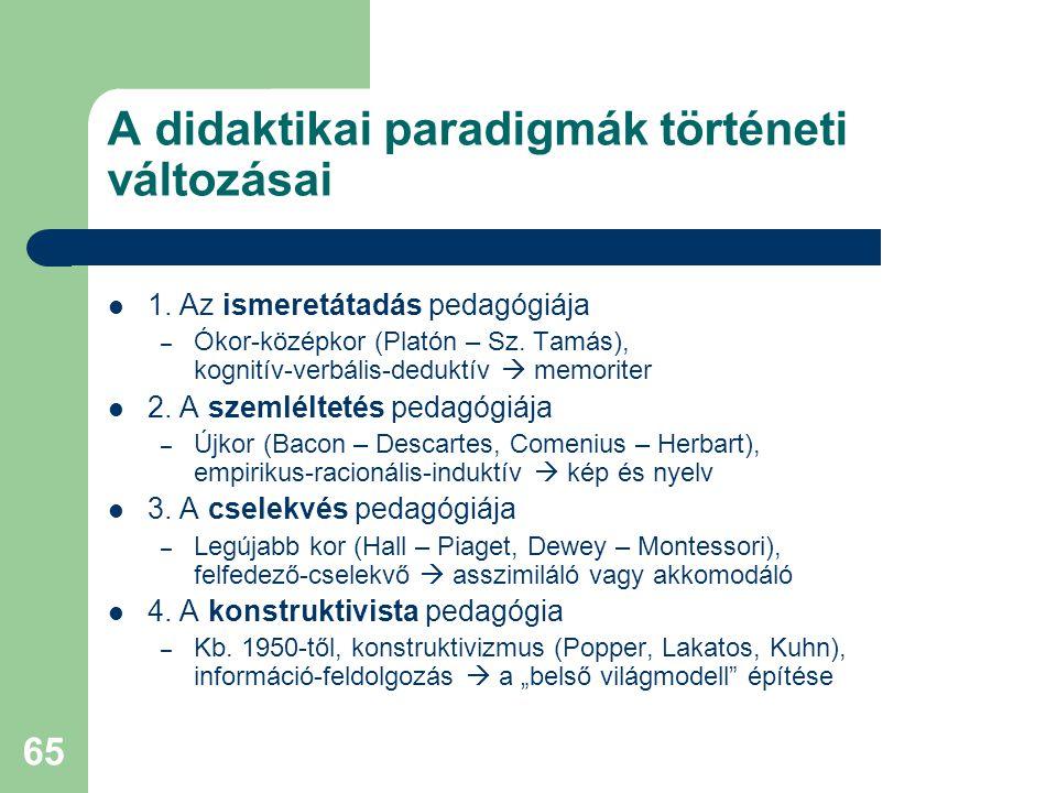 65 A didaktikai paradigmák történeti változásai  1. Az ismeretátadás pedagógiája – Ókor-középkor (Platón – Sz. Tamás), kognitív-verbális-deduktív  m