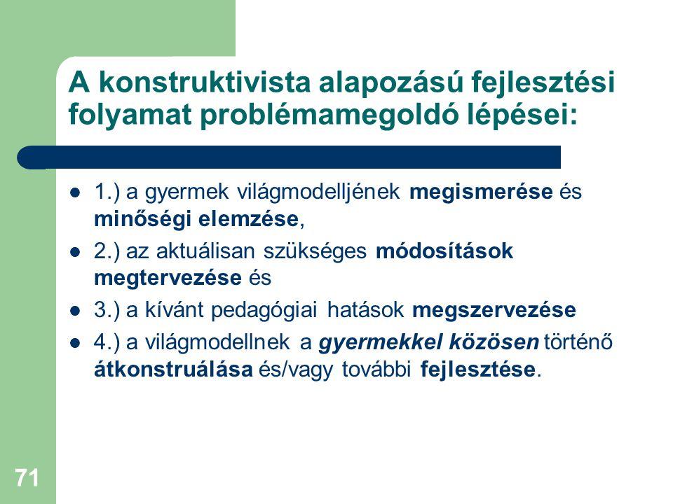 71 A konstruktivista alapozású fejlesztési folyamat problémamegoldó lépései:  1.) a gyermek világmodelljének megismerése és minőségi elemzése,  2.)