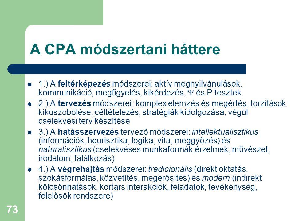 73 A CPA módszertani háttere  1.) A feltérképezés módszerei: aktív megnyilvánulások, kommunikáció, megfigyelés, kikérdezés,  és P tesztek  2.) A tervezés módszerei: komplex elemzés és megértés, torzítások kiküszöbölése, céltételezés, stratégiák kidolgozása, végül cselekvési terv készítése  3.) A hatásszervezés tervező módszerei: intellektualisztikus (információk, heurisztika, logika, vita, meggyőzés) és naturalisztikus (cselekvéses munkaformák,érzelmek, művészet, irodalom, találkozás)  4.) A végrehajtás módszerei: tradicionális (direkt oktatás, szokásformálás, közvetítés, megerősítés) és modern (indirekt kölcsönhatások, kortárs interakciók, feladatok, tevékenység, felelősök rendszere)