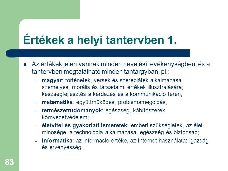 Értékek a helyi tantervben 1.  Az értékek jelen vannak minden nevelési tevékenységben, és a tantervben megtalálható minden tantárgyban, pl.: – magyar