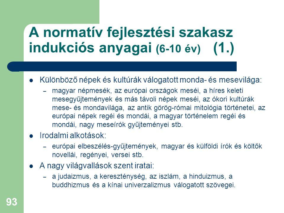 A normatív fejlesztési szakasz indukciós anyagai (6-10 év) (1.)  Különböző népek és kultúrák válogatott monda- és mesevilága: – magyar népmesék, az európai országok meséi, a híres keleti mesegyűjtemények és más távoli népek meséi, az ókori kultúrák mese- és mondavilága, az antik görög-római mitológia történetei, az európai népek regéi és mondái, a magyar történelem regéi és mondái, nagy meseírók gyűjteményei stb.