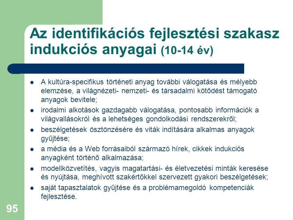 Az identifikációs fejlesztési szakasz indukciós anyagai (10-14 év)  A kultúra-specifikus történeti anyag további válogatása és mélyebb elemzése, a világnézeti- nemzeti- és társadalmi kötődést támogató anyagok bevitele;  irodalmi alkotások gazdagabb válogatása, pontosabb információk a világvallásokról és a lehetséges gondolkodási rendszerekről;  beszélgetések ösztönzésére és viták indítására alkalmas anyagok gyűjtése;  a média és a Web forrásaiból származó hírek, cikkek indukciós anyagként történő alkalmazása;  modellközvetítés, vagyis magatartási- és életvezetési minták keresése és nyújtása, meghívott szakértőkkel szervezett gyakori beszélgetések;  saját tapasztalatok gyűjtése és a problémamegoldó kompetenciák fejlesztése.