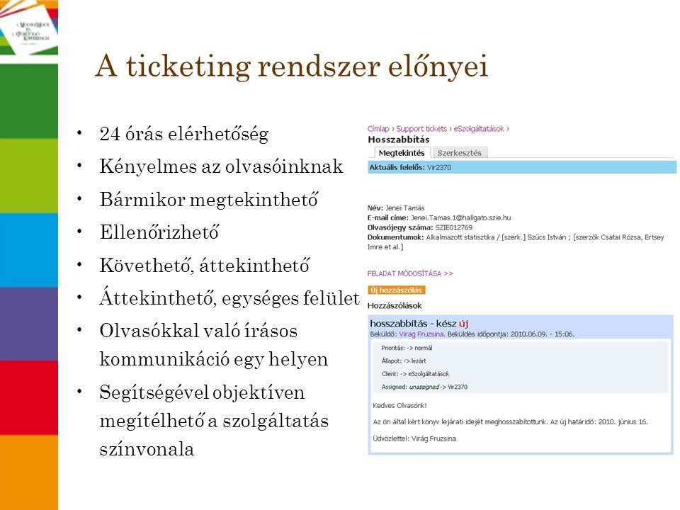 A ticketing rendszer előnyei •24 órás elérhetőség •Kényelmes az olvasóinknak •Bármikor megtekinthető •Ellenőrizhető •Követhető, áttekinthető •Áttekint