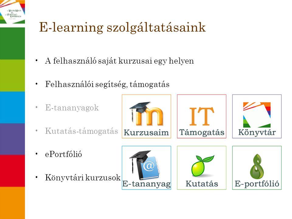 E-learning szolgáltatásaink •A felhasználó saját kurzusai egy helyen •Felhasználói segítség, támogatás •E-tananyagok •Kutatás-támogatás •ePortfólió •K