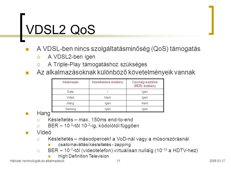 Hálózati technológiák és alkalmazások2008.03.1711 VDSL2 QoS  A VDSL-ben nincs szolgáltatásminőség (QoS) támogatás  A VDSL2-ben igen  A Triple-Play támogatáshoz szükséges  Az alkalmazásoknak különböző követelményeik vannak AlkalmazásKésleltetésre érzékenyCsomagvesztésre (BER) érzékeny Data/Igen VideóNemIgen HangIgenNem GamingIgen  Hang  Késleltetés – max.