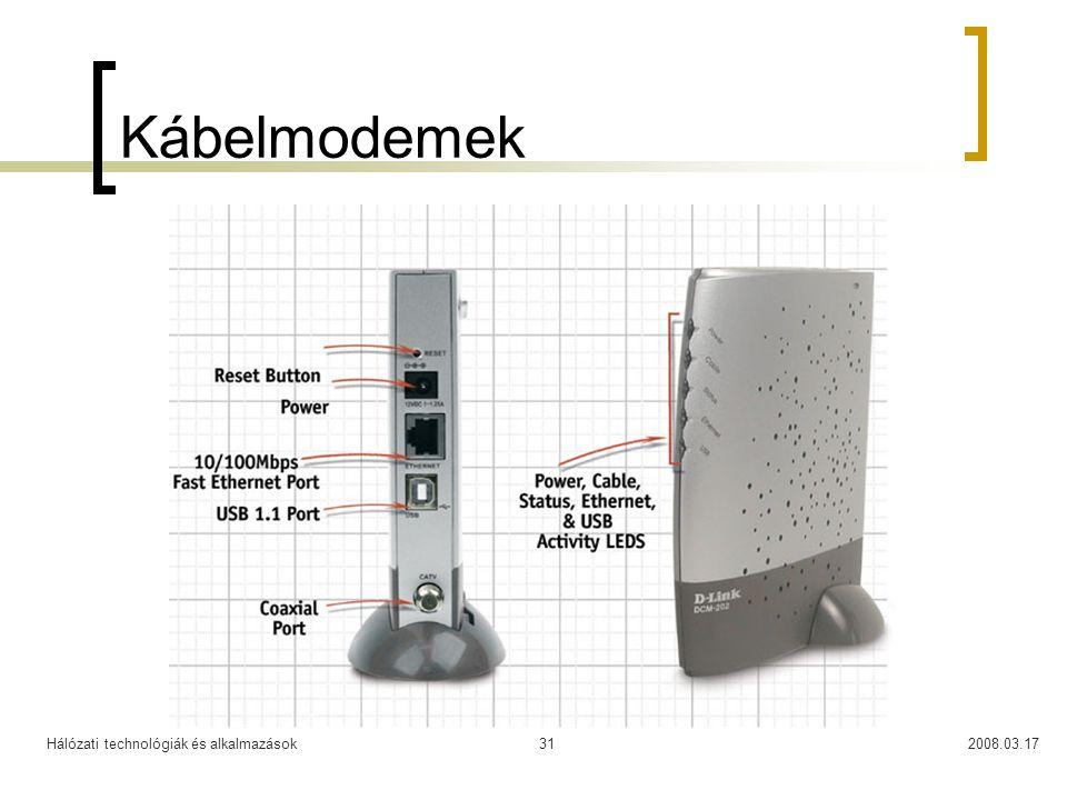 Hálózati technológiák és alkalmazások2008.03.1731 Kábelmodemek