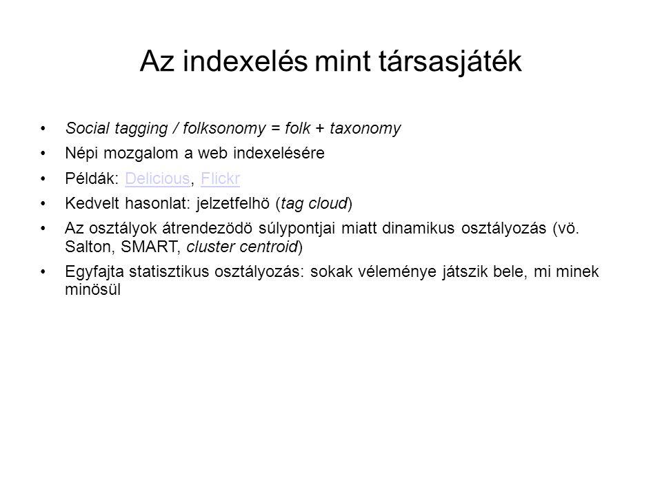Az indexelés mint társasjáték •Social tagging / folksonomy = folk + taxonomy •Népi mozgalom a web indexelésére •Példák: Delicious, FlickrDeliciousFlic