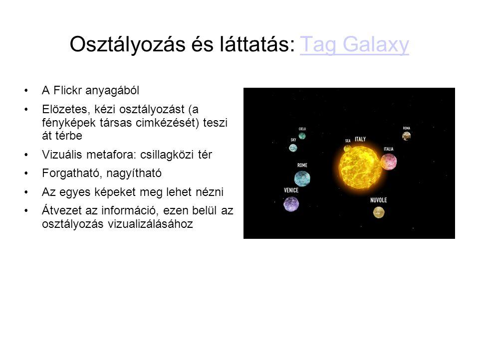 Osztályozás és láttatás: Tag GalaxyTag Galaxy •A Flickr anyagából •Elözetes, kézi osztályozást (a fényképek társas cimkézését) teszi át térbe •Vizuáli
