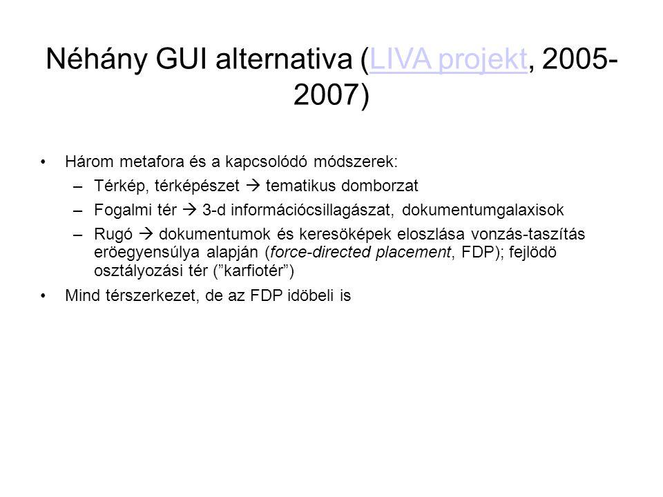 Néhány GUI alternativa (LIVA projekt, 2005- 2007) LIVA projekt •Három metafora és a kapcsolódó módszerek: –Térkép, térképészet  tematikus domborzat
