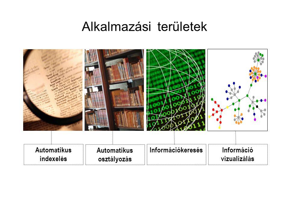 Automatikus osztályozás Hilbert-térben •Hilbert-tér: a kvantummechanika elméletének fejlesztésére David Hilbert és Neumann János által bevezetett új, potenciálisan végtelen dimenziós vektortér, amelyben a részecskék viselkedése tanulmányozható •Az SVM, egy új regressziós ill osztályozási eljárás, a Hilbert-térben éri el, hogy a dokumentumok maximálisan elkülönüljenek az adatokban megnyilvánuló osztályokba •KisfilmKisfilm