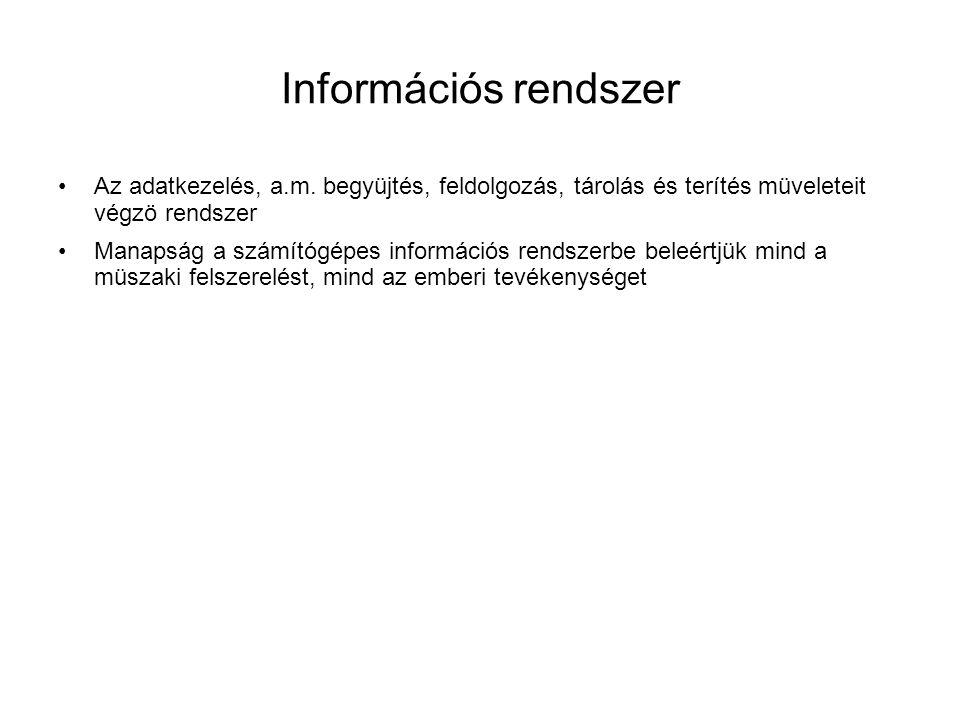Információs rendszer •Az adatkezelés, a.m. begyüjtés, feldolgozás, tárolás és terítés müveleteit végzö rendszer •Manapság a számítógépes információs r