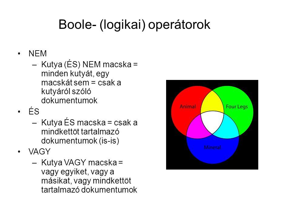 Boole- (logikai) operátorok •NEM –Kutya (ÉS) NEM macska = minden kutyát, egy macskát sem = csak a kutyáról szóló dokumentumok •ÉS –Kutya ÉS macska = c
