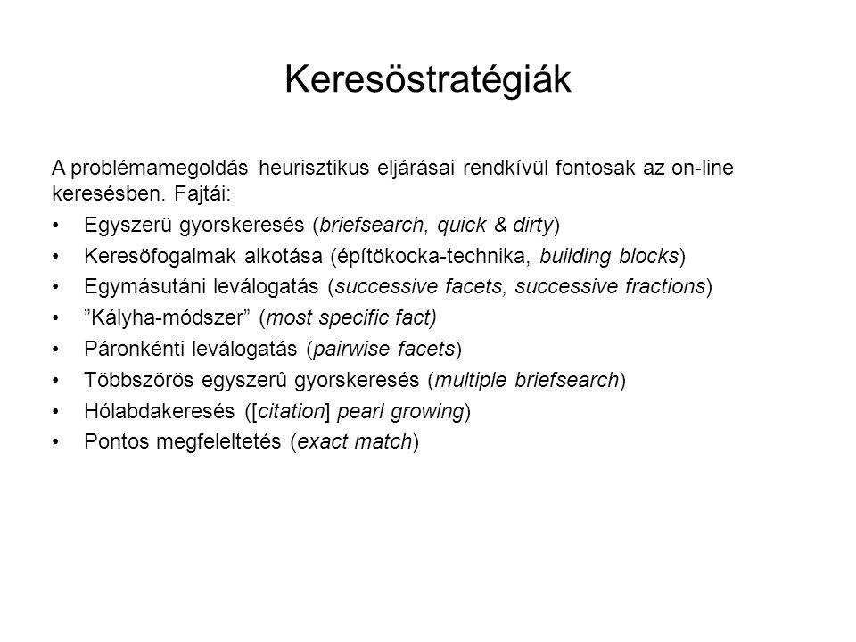 Keresöstratégiák A problémamegoldás heurisztikus eljárásai rendkívül fontosak az on-line keresésben. Fajtái: •Egyszerü gyorskeresés (briefsearch, quic