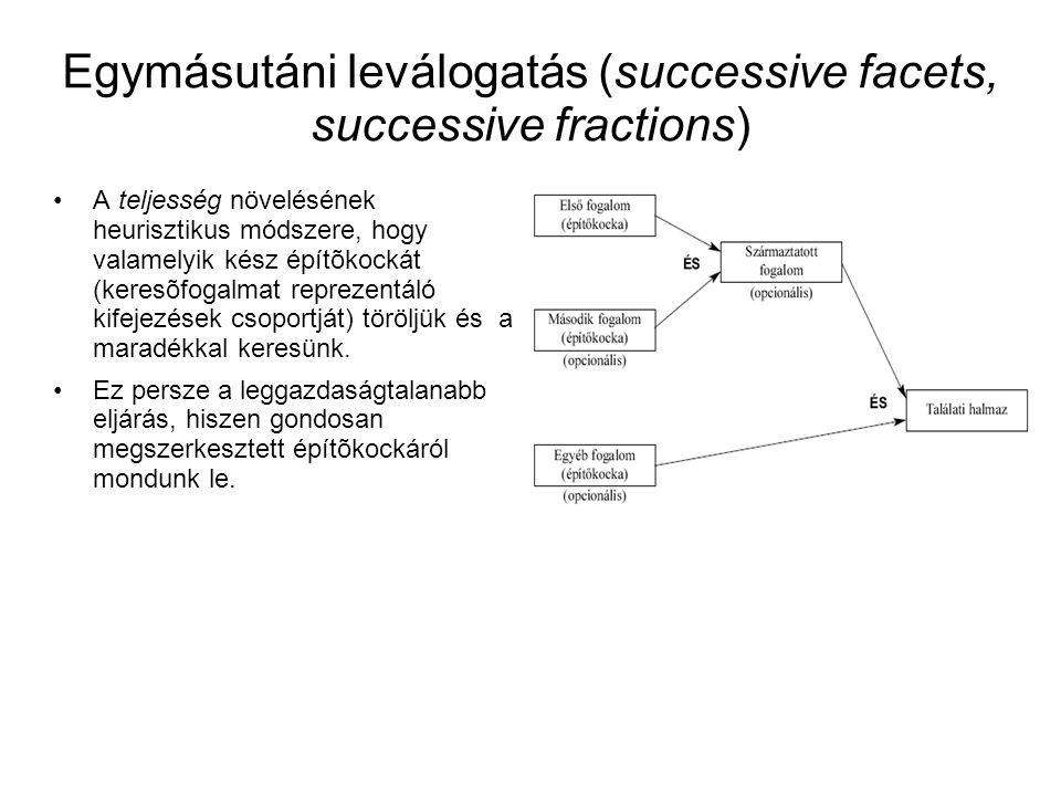 Egymásutáni leválogatás (successive facets, successive fractions) •A teljesség növelésének heurisztikus módszere, hogy valamelyik kész építõkockát (k