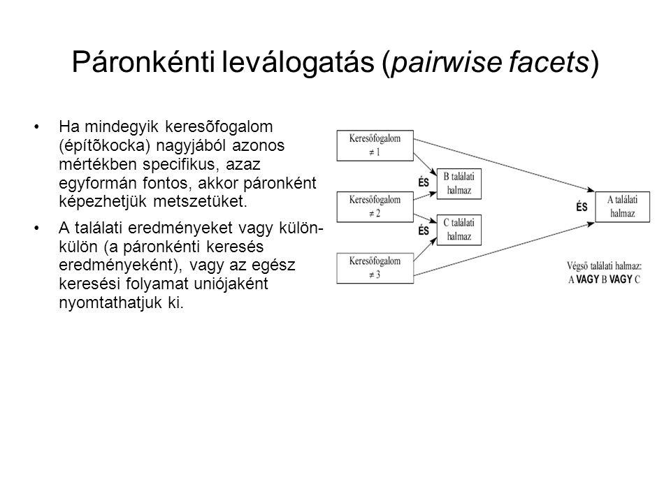 Páronkénti leválogatás (pairwise facets) •Ha mindegyik keresõfogalom (építõkocka) nagyjából azonos mértékben specifikus, azaz egyformán fontos, akkor
