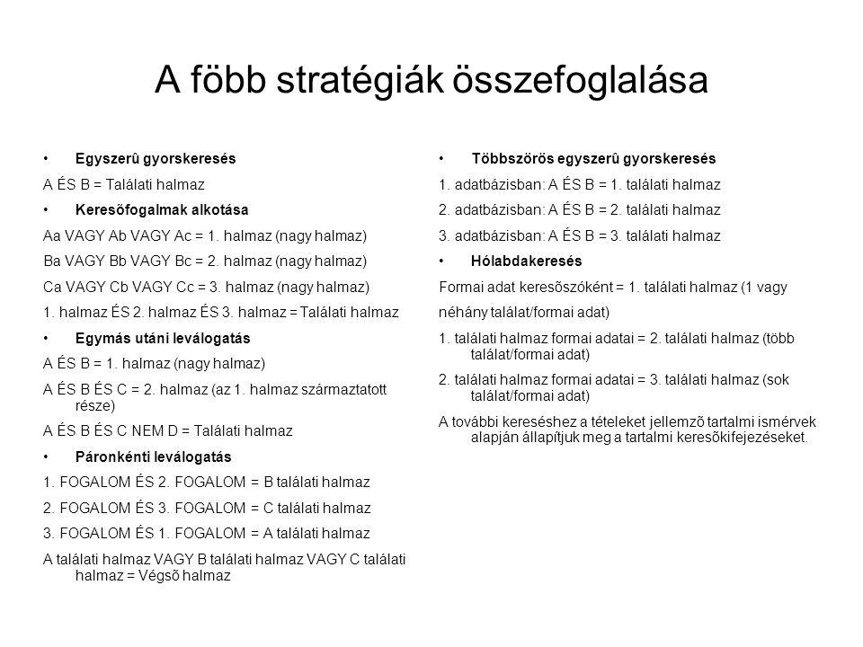 A föbb stratégiák összefoglalása •Egyszerû gyorskeresés A ÉS B = Találati halmaz •Keresõfogalmak alkotása Aa VAGY Ab VAGY Ac = 1. halmaz (nagy halmaz)