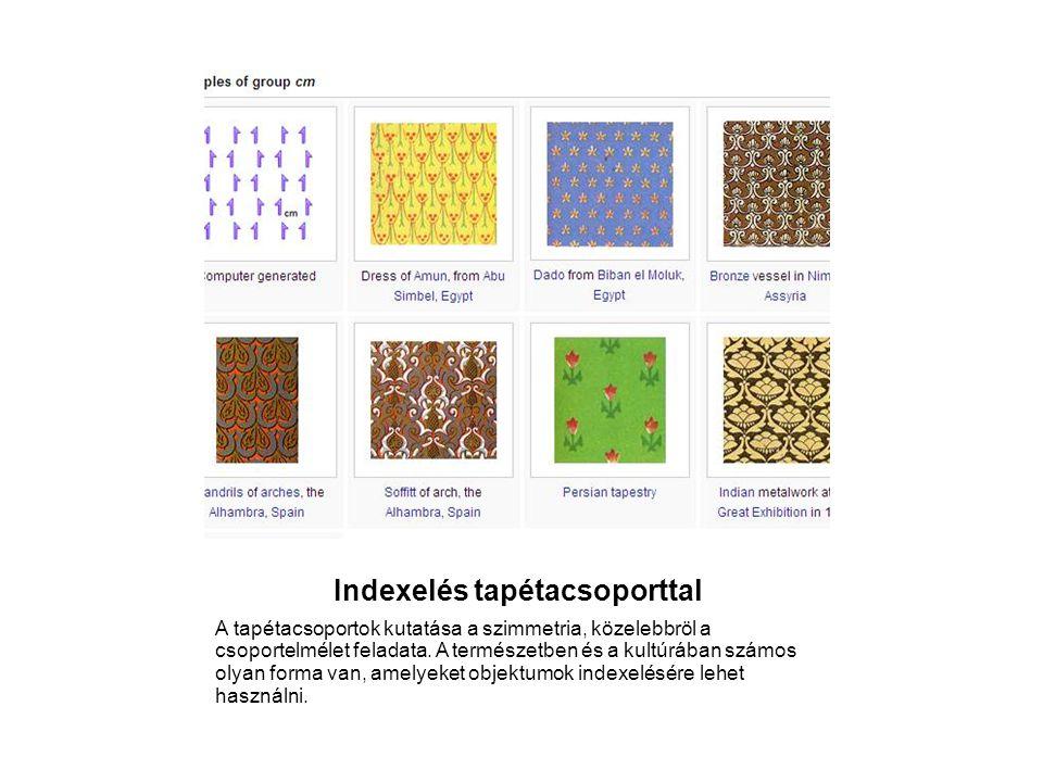 Indexelés tapétacsoporttal A tapétacsoportok kutatása a szimmetria, közelebbröl a csoportelmélet feladata. A természetben és a kultúrában számos olyan
