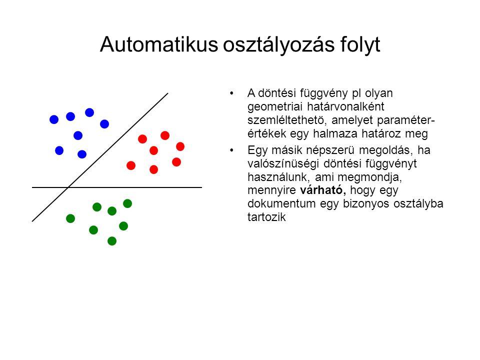 Automatikus osztályozás folyt •A döntési függvény pl olyan geometriai határvonalként szemléltethetö, amelyet paraméter- értékek egy halmaza határoz me