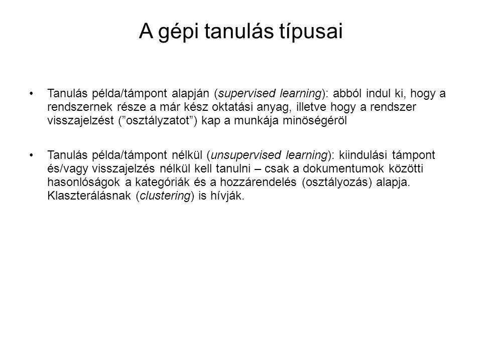 A gépi tanulás típusai •Tanulás példa/támpont alapján (supervised learning): abból indul ki, hogy a rendszernek része a már kész oktatási anyag, illet