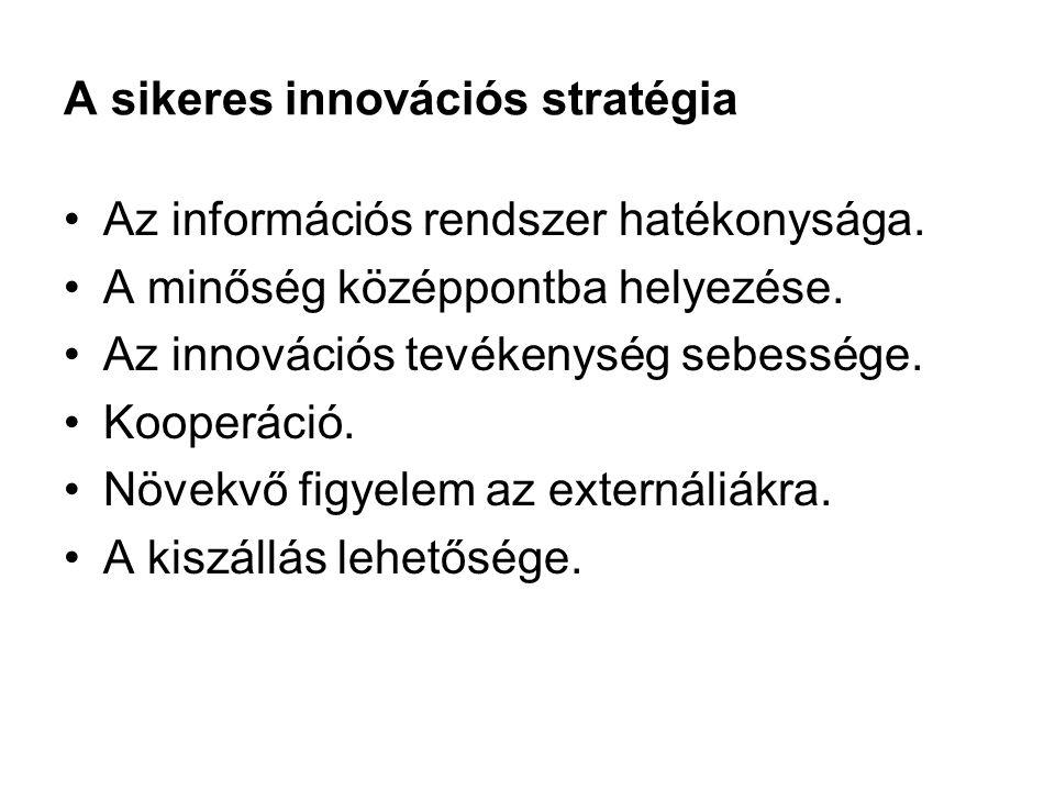 A sikeres innovációs stratégia •Az információs rendszer hatékonysága. •A minőség középpontba helyezése. •Az innovációs tevékenység sebessége. •Kooperá