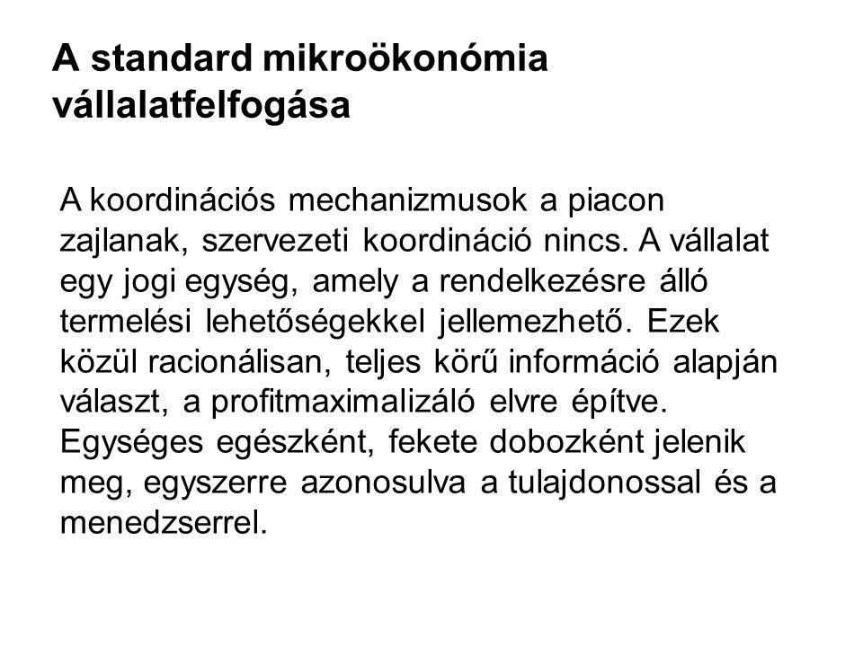 A standard mikroökonómia vállalatfelfogása A koordinációs mechanizmusok a piacon zajlanak, szervezeti koordináció nincs. A vállalat egy jogi egység, a