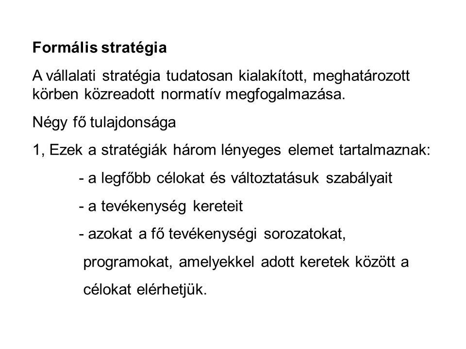 Formális stratégia A vállalati stratégia tudatosan kialakított, meghatározott körben közreadott normatív megfogalmazása. Négy fő tulajdonsága 1, Ezek