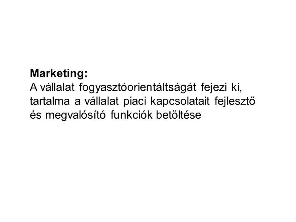 Marketing: A vállalat fogyasztóorientáltságát fejezi ki, tartalma a vállalat piaci kapcsolatait fejlesztő és megvalósító funkciók betöltése
