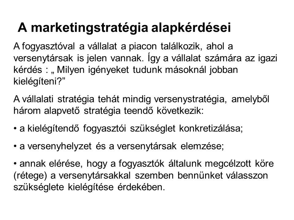 A marketingstratégia alapkérdései A fogyasztóval a vállalat a piacon találkozik, ahol a versenytársak is jelen vannak. Így a vállalat számára az igazi