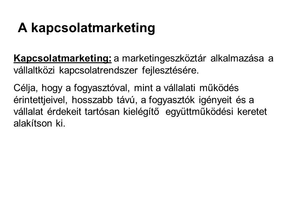 A kapcsolatmarketing Kapcsolatmarketing: a marketingeszköztár alkalmazása a vállaltközi kapcsolatrendszer fejlesztésére. Célja, hogy a fogyasztóval, m