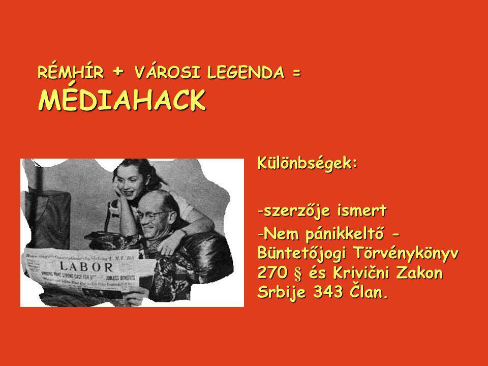 RÉMHÍR + VÁROSI LEGENDA = MÉDIAHACK Különbségek: -szerzője ismert -Nem pánikkeltő - Büntetőjogi Törvénykönyv 270 § és Krivični Zakon Srbije 343 Član.