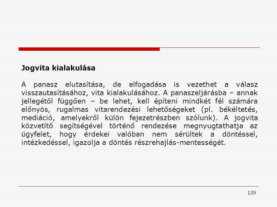 129 Jogvita kialakulása A panasz elutasítása, de elfogadása is vezethet a válasz visszautasításához, vita kialakulásához.