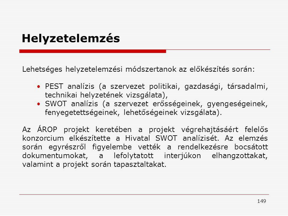 149 Lehetséges helyzetelemzési módszertanok az előkészítés során: •PEST analízis (a szervezet politikai, gazdasági, társadalmi, technikai helyzetének vizsgálata), •SWOT analízis (a szervezet erősségeinek, gyengeségeinek, fenyegetettségeinek, lehetőségeinek vizsgálata).