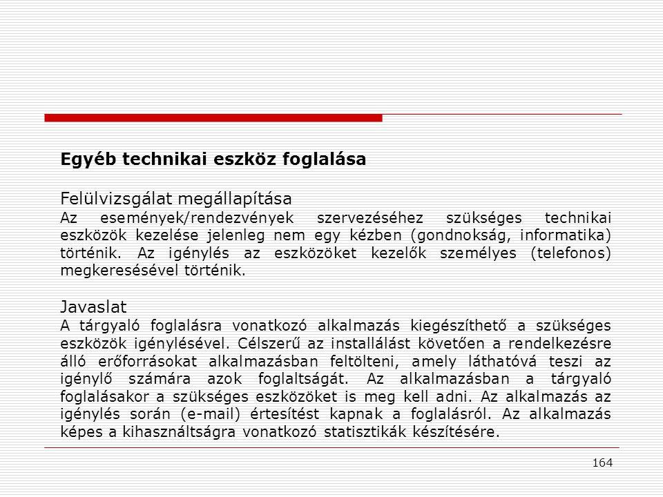 164 Egyéb technikai eszköz foglalása Felülvizsgálat megállapítása Az események/rendezvények szervezéséhez szükséges technikai eszközök kezelése jelenleg nem egy kézben (gondnokság, informatika) történik.