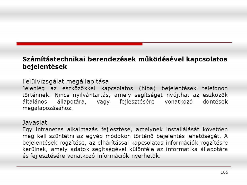 165 Számítástechnikai berendezések működésével kapcsolatos bejelentések Felülvizsgálat megállapítása Jelenleg az eszközökkel kapcsolatos (hiba) bejelentések telefonon történnek.