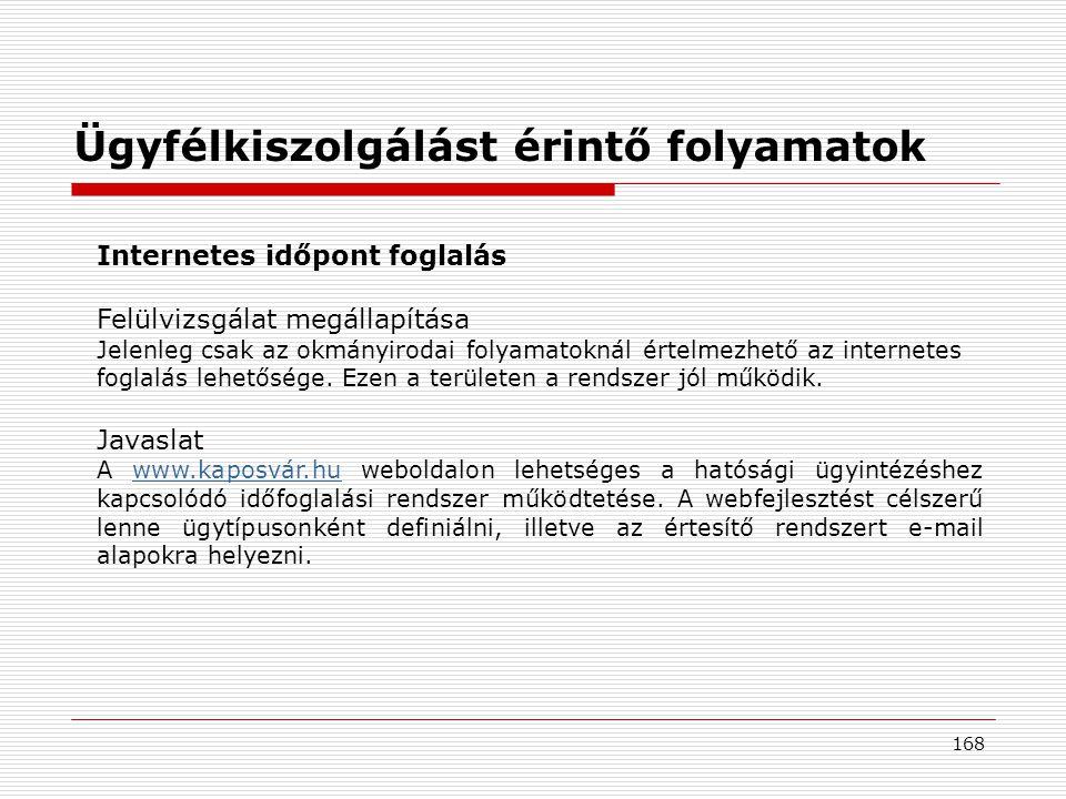 168 Internetes időpont foglalás Felülvizsgálat megállapítása Jelenleg csak az okmányirodai folyamatoknál értelmezhető az internetes foglalás lehetősége.