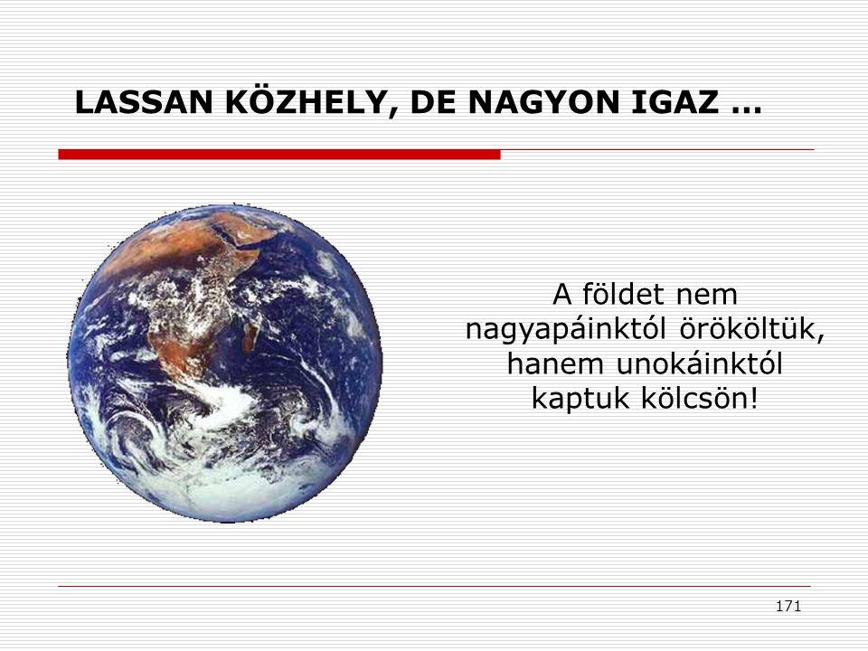 171 A földet nem nagyapáinktól örököltük, hanem unokáinktól kaptuk kölcsön.