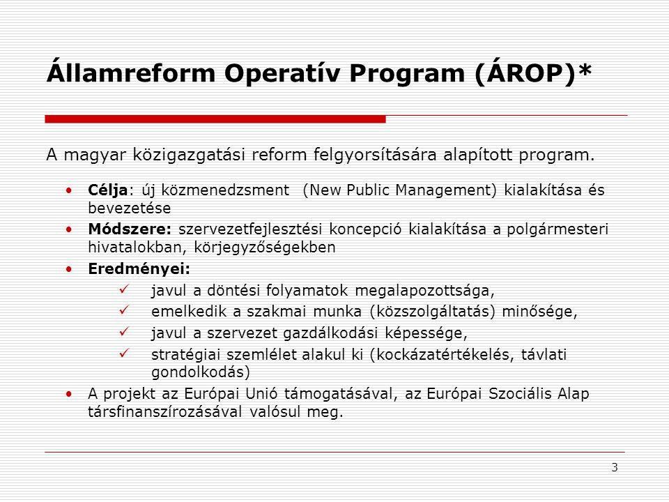 3 Államreform Operatív Program (ÁROP)* •Célja: új közmenedzsment (New Public Management) kialakítása és bevezetése •Módszere: szervezetfejlesztési koncepció kialakítása a polgármesteri hivatalokban, körjegyzőségekben •Eredményei:  javul a döntési folyamatok megalapozottsága,  emelkedik a szakmai munka (közszolgáltatás) minősége,  javul a szervezet gazdálkodási képessége,  stratégiai szemlélet alakul ki (kockázatértékelés, távlati gondolkodás) •A projekt az Európai Unió támogatásával, az Európai Szociális Alap társfinanszírozásával valósul meg.