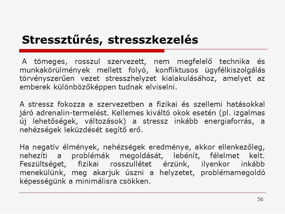 56 A tömeges, rosszul szervezett, nem megfelelő technika és munkakörülmények mellett folyó, konfliktusos ügyfélkiszolgálás törvényszerűen vezet stresszhelyzet kialakulásához, amelyet az emberek különbözőképpen tudnak elviselni.