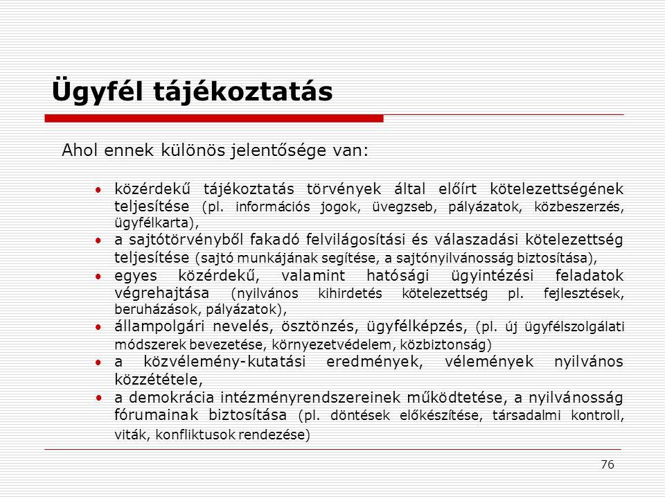 76 Ügyfél tájékoztatás Ahol ennek különös jelentősége van: közérdekű tájékoztatás törvények által előírt kötelezettségének teljesítése (pl.