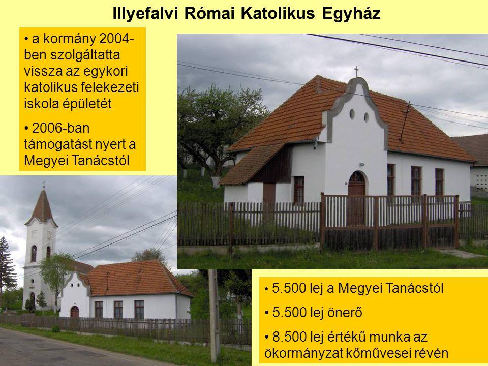 Illyefalvi Római Katolikus Egyház • a kormány 2004- ben szolgáltatta vissza az egykori katolikus felekezeti iskola épületét • 2006-ban támogatást nyert a Megyei Tanácstól • 5.500 lej a Megyei Tanácstól • 5.500 lej önerő • 8.500 lej értékű munka az ökormányzat kőművesei révén
