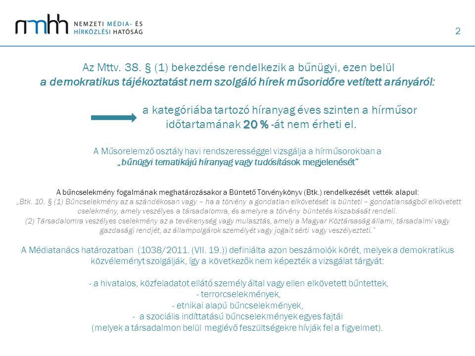 2 20 % Az Mttv. 38. § (1) bekezdése rendelkezik a bűnügyi, ezen belül a demokratikus tájékoztatást nem szolgáló hírek műsoridőre vetített arányáról: a