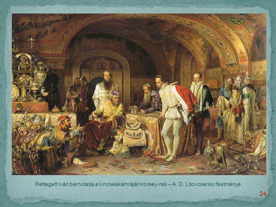 Rettegett Iván bemutatja a kincseskamráját Horsey-nak – A. D. Litovcsenko festménye 24