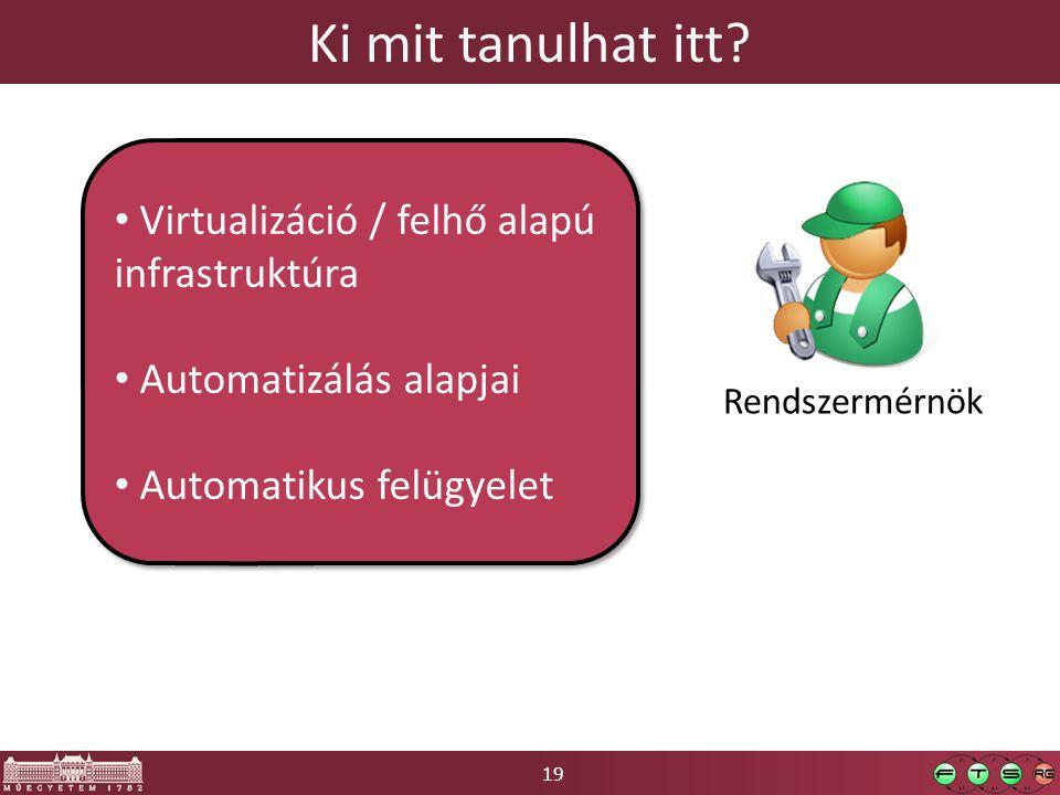 19 Ki mit tanulhat itt? Rendszermérnök • Virtualizáció / felhő alapú infrastruktúra • Automatizálás alapjai • Automatikus felügyelet • Virtualizáció /