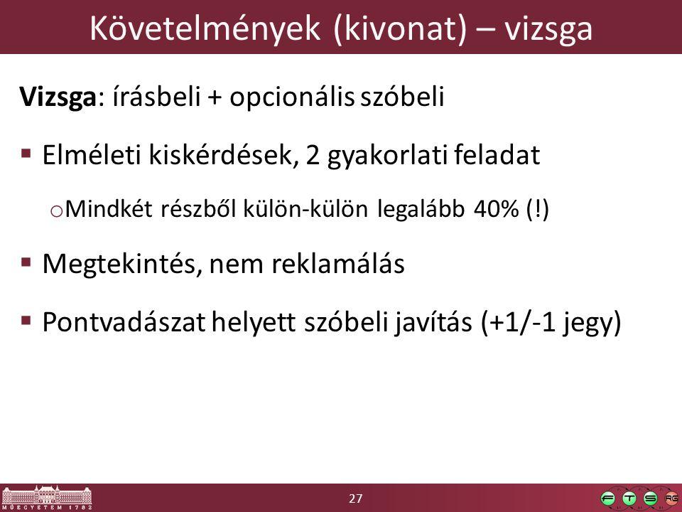 27 Követelmények (kivonat) – vizsga Vizsga: írásbeli + opcionális szóbeli  Elméleti kiskérdések, 2 gyakorlati feladat o Mindkét részből külön-külön l