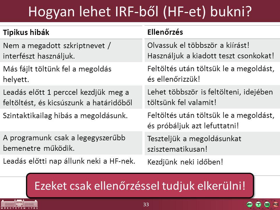 33 Hogyan lehet IRF-ből (HF-et) bukni? Tipikus hibák Nem a megadott szkriptnevet / interfészt használjuk. Más fájlt töltünk fel a megoldás helyett. Le