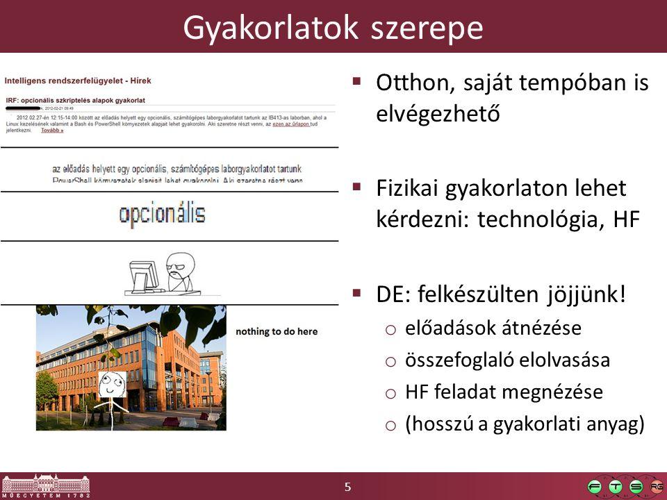5 Gyakorlatok szerepe  Otthon, saját tempóban is elvégezhető  Fizikai gyakorlaton lehet kérdezni: technológia, HF  DE: felkészülten jöjjünk! o előa