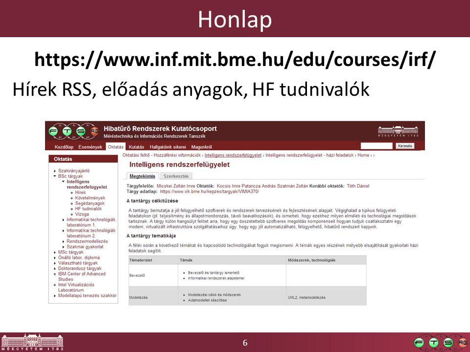 6 Honlap https://www.inf.mit.bme.hu/edu/courses/irf/ Hírek RSS, előadás anyagok, HF tudnivalók